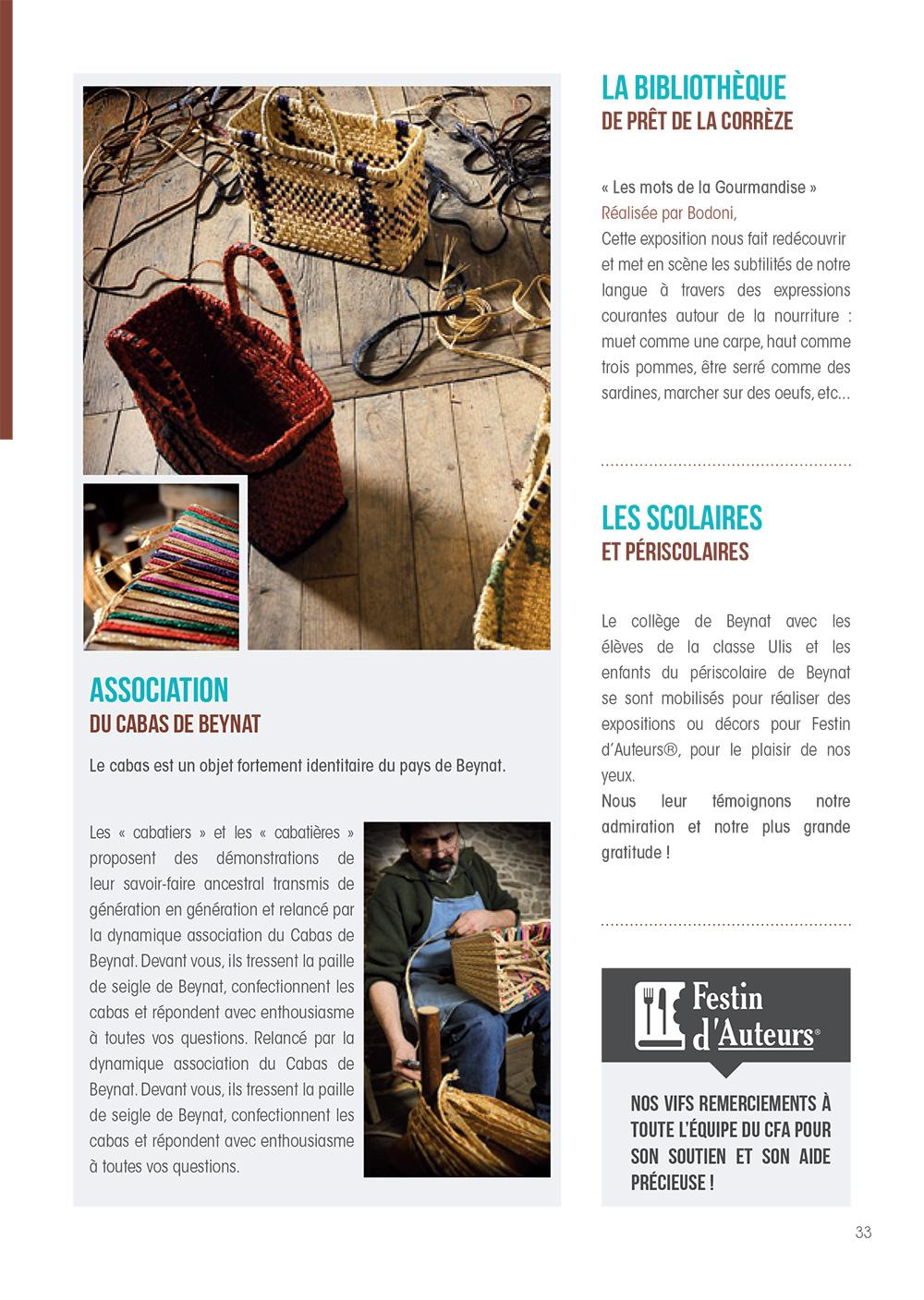 Réalisation Comevents - Festin d'Auteurs - Programme - Page intérieure